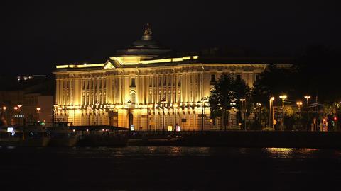 Saint-Petersburg Academy of art. Night. 4K Footage