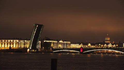 Troitsky drawbridge. Saint-Petersburg. 4K Footage