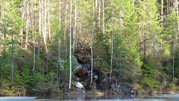 Waterfall in the forest near Lake Footage