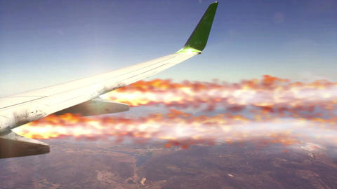 Burning wing view from plane Animation
