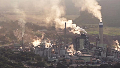 Smokey Industrial Plant Med Shot stock footage