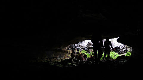 Spelunking In Lava Tube stock footage