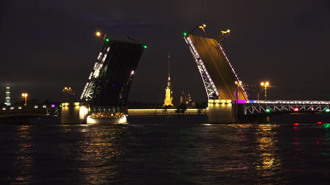Palace drawbridge. Saint-Petersburg. 4K Footage