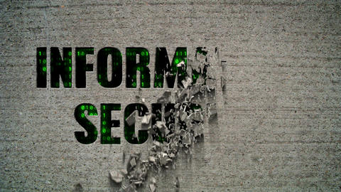 Information Security Binary Code Crumbling Wall Animation
