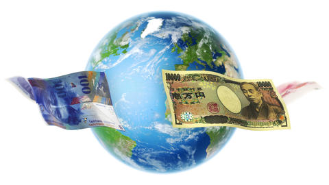 Banknotes Around Earth on White (Loop) Animation
