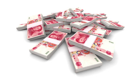 Falling 100 Chinese Yuan (CNY) Packs - Realistic stock footage