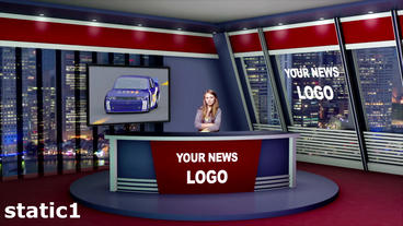 Virtual News Studio 3 D Set stock footage