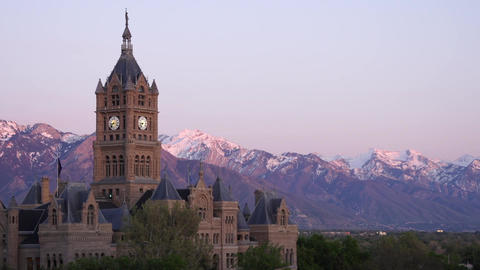 Salt Lake City and County Building sunset Footage