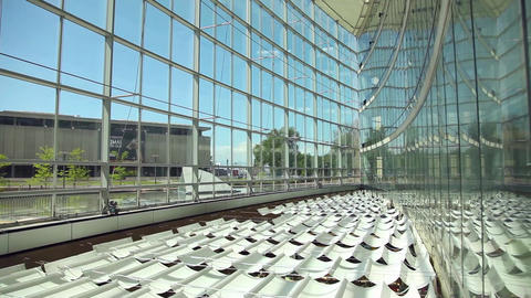 Salt Lake City library inside tilt down Footage