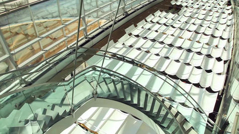 Salt Lake City library stairs pan Footage