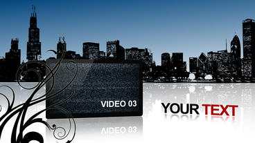 city view with multi screen After Effects Template