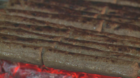 Kakori Kebab Cooking Over Coal Fire stock footage