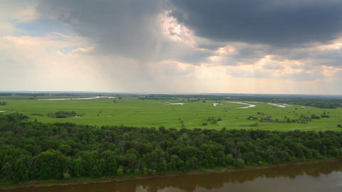 Landscape With River And Rain On Horizon - Panoram stock footage