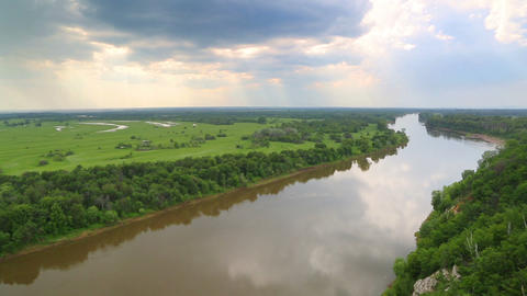 timelapse landscape with river - view from height Footage
