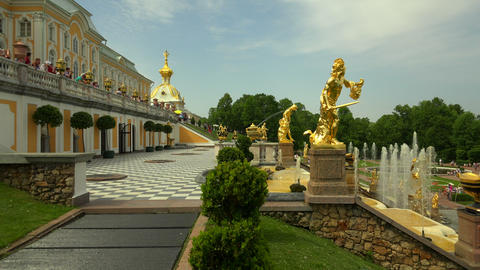 Fountain of the Grand cascade. Peterhof. Fountains Footage
