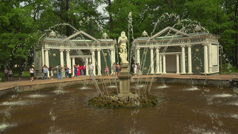 Fountain Adam. Peterhof. Fountains. Petrodvorets.  Footage