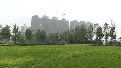 Building Construction Work and Park Sichuan China  Footage
