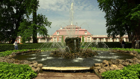 Fountains near the Monplaisir Palace. Peterhof. Fo Footage