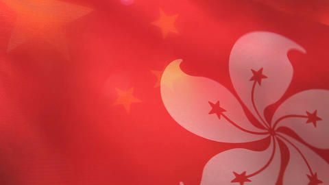 Hong Kong And China Flags stock footage