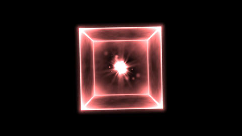 Rotating Glowing Cube Animation - Loop Red Animation