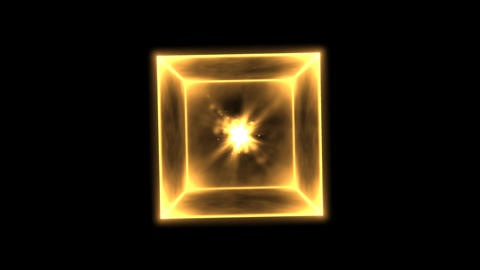 Rotating Glowing Cube Animation - Loop Golden Animation