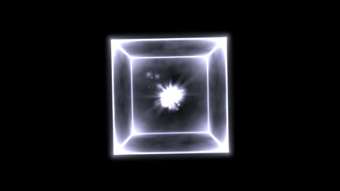 Rotating Glowing Cube Animation - Loop White CG動画素材