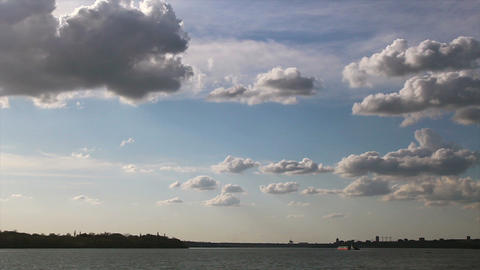 Timelapse of cloudy sky over the river Footage