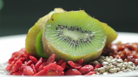 super foods ; kiwi, goji, hemp, inca berry, chia s Live Action