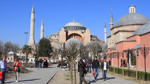 Hagia Sophia Museum, Sultanahmet Square stock footage