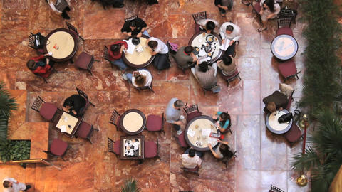 People At Cafe (Two Shots) stock footage