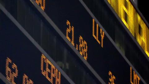 Stock Market LED Ticker Board Footage
