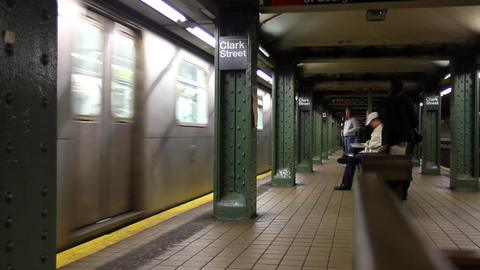 Subway Train Arrives stock footage