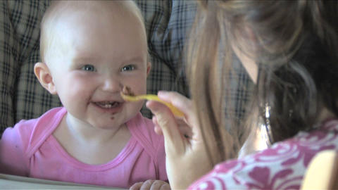 Happy Baby Eating Footage