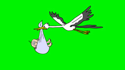 Stork brings baby Animation