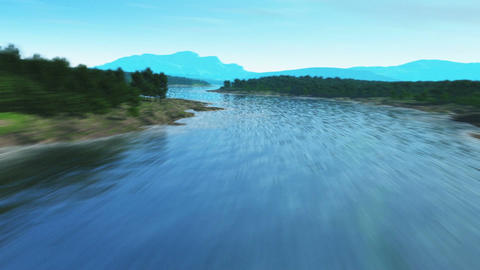 Flying over a river Animation