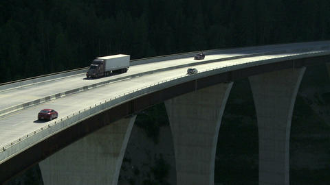 Truck on high bridge 04 Footage