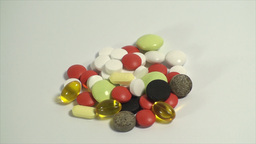 Pills Piled Up On A White Background, Medical, Med Footage