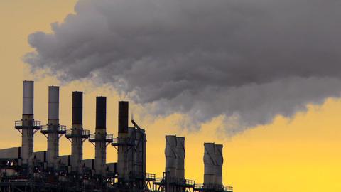Smoke Stack Sunset 02 stock footage