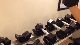 Dumbbell Exercise stock footage