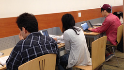 People studying at library Footage
