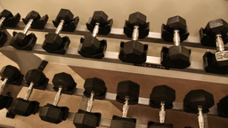 Dumbbells Displayed stock footage