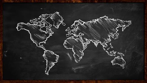 World Chalk Sketch on Blackboard Looping Animation Animation
