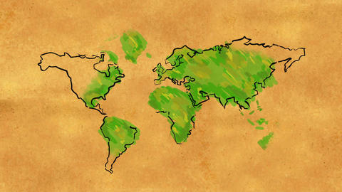 World Map Sketch watercolor on Old Paper Looping A Animation