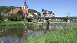 Church by the river in a small German town Footage
