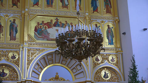 The interior of an orthodox church. 4K Footage
