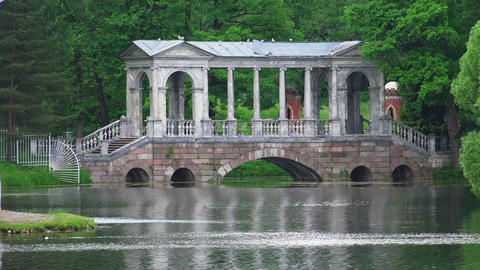 Marble Bridge. Pushkin. Catherine Park. Tsarskoye  stock footage