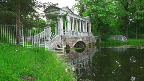Marble bridge. Pushkin. Catherine Park. Tsarskoye  Footage