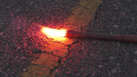 Burning Emergency Road Flare Close Up Footage