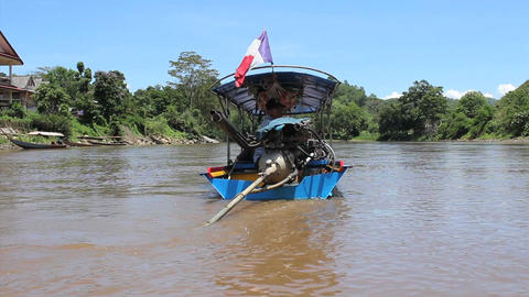 Long Tail Boat In Northern Thailand River Footage