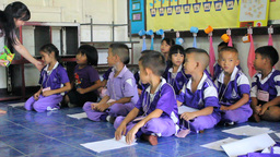 Missions Team Teaching English To Asian Kids Footage